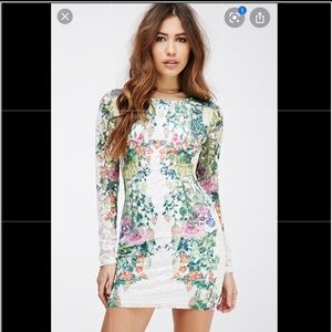 Forever 21 Floral Bodycon Open Back Dress M